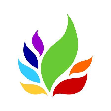 Illustration for 7 chakra color icon symbol logo sign, flower floral, vector design illustration concept drawing - Royalty Free Image