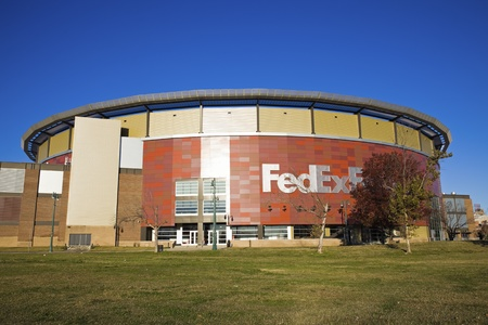 Memphis, Tennessee, USA - November 27, 2009: FedExForum in downtown of Memphis, Tennessee. Opened in 1994. Home to Memphis Grizzlies and to many other sport and cultural events. Seen fall morning.