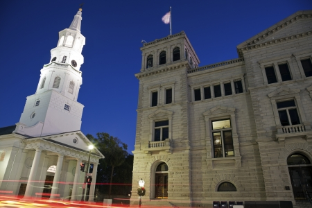Architecture of Charleston seen nigth time