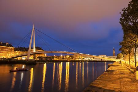 Pedestrian bridge in the center of Le Havre. Le Havre, Normandy, France