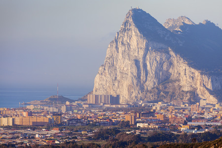 Panorama of Gibraltar seen from La Linea de la Concepcion. La Linea de la Concepcion, Andalusia, Spain.