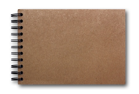 brown sketch book isolated on white background