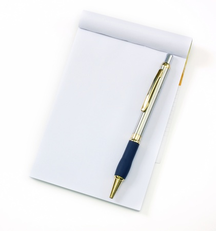 recycle notebook and pen on a white background