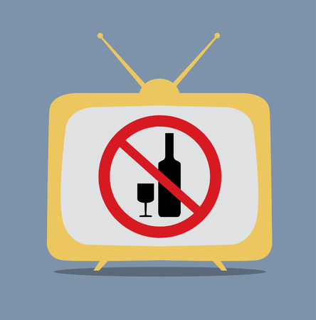 No alcohol sign on tv