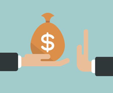 Businessman hand refusing the offered bribe money bag vector illustration