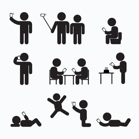 Addiction Obsession Using Smartphone Stick Figure Pictogram Icon