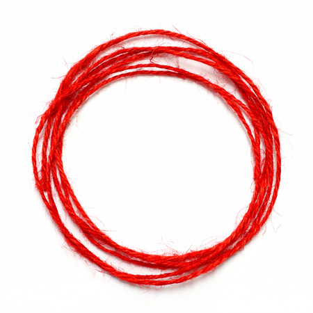 red string circle on white background