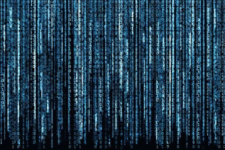 Big Blue Binary code as matrix background, computer code with binary characters shining.