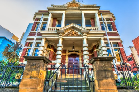 Spectacular and colorful historical buildings, Hobart Town, Tasmania, Australia.