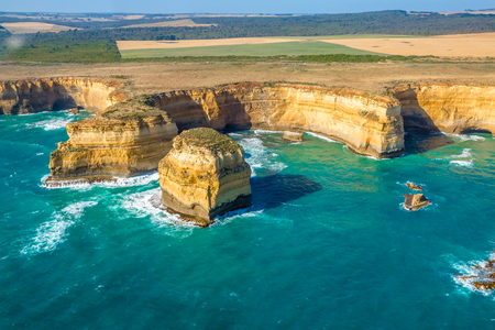 Aerial view of shipwreck coast on the Great Ocean Road in Victoria, Australia famous attraction of the Port Campbell National Park.