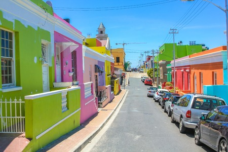 The colorful houses of Bo-Kaap, famous Malay Quarter is the Muslim Malay village in Cape Town, one of the most picturesque part of town, South Africa.