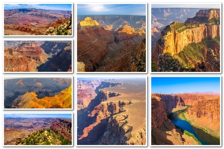 Grand Canyon collage of several famous locations landmarks at sunset and aerial view of Grand Canyon National Park, Arizona, United States.