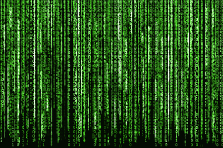 Big Green Binary code as matrix background, computer code with binary characters shining.