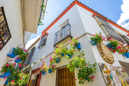 Calleja de las Flores in Barrio de la Juderia of Cordoba, one of the most popular and tourist streets of Andalusian city in Spain.