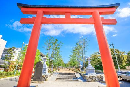 Ni no Torii, the second of the three Torii gate on Wakamiya  Avenue the 2 km long road leading to Tsurugaoka Hachiman Shinto Sanctuary in Kamakura, Japan. Beautiful spring season in the blue sky.