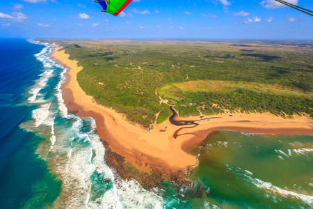Photo pour Aerial view of Sodwana Bay National Park within the iSimangaliso Wetland Park, Maputaland, an area of KwaZulu-Natal on the east coast of South Africa. Indian Ocean landscape. - image libre de droit