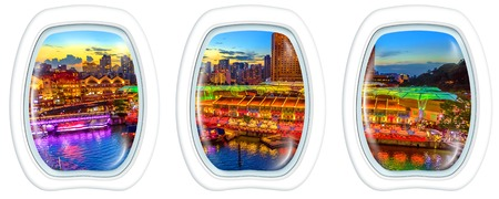 Photo for Three porthole frame windows on Scenic aerial view of Clarke Quay and Riverside area at blue hour in Singapore, Southeast Asia. Waterfront skyline reflected on Singapore River. Copy space. - Royalty Free Image