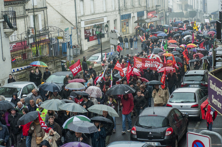 French people are protesting against the El Khomri Work Law in Angouleme, France, in the 31st of March 2016
