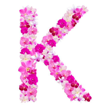 Letter K from orchid flowers isolated on white with working path