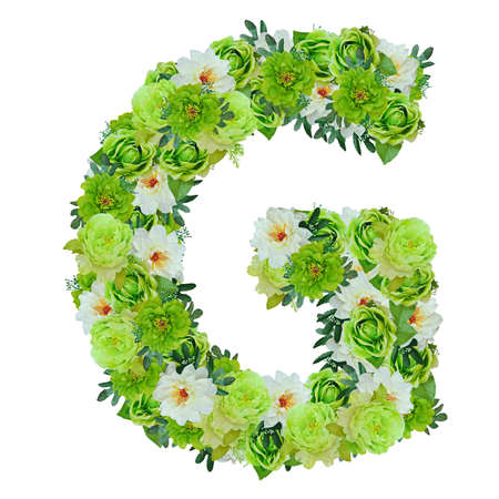 Letter G from green and white flowers isolated on white with working path