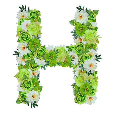 Letter H from green and white flowers isolated on white with working path