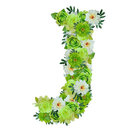 Letter J from green and white flowers isolated on white with working path