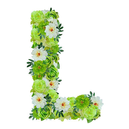 Letter L from green and white flowers isolated on white with working path