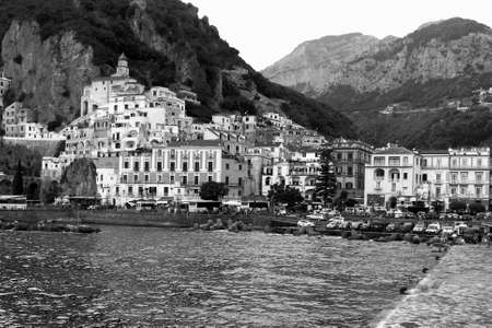 Foto per Black and White Panoramic view of Amalfi, In Amalfi Coast - Italy - Immagine Royalty Free