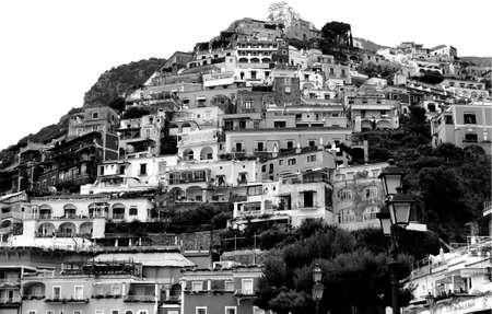 Foto per Black and White Positano Landscape - Amalfi Coast - Italy - Immagine Royalty Free