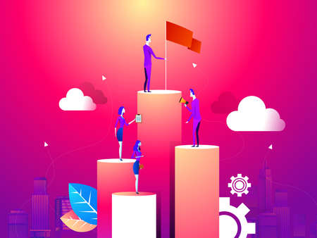 Illustration pour businessman point to flag at peak of mountain and man run to goal.mean flag is success and goal - image libre de droit