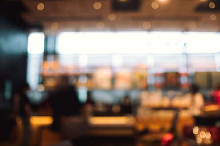 Photo pour Close up abstract blurred people in food center. - image libre de droit