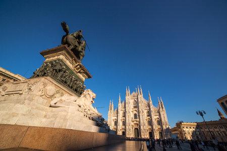 Vittorio Emanuele II monument in Piazza Duomo, Milan
