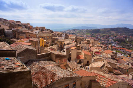 View of the Assoro's roofs, Sicily. Italy