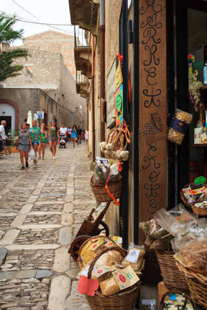 ERICE, ITALY - AUGUST 05: View of Erice alleyway. Erice the city of 100 churches on August 05, 2015
