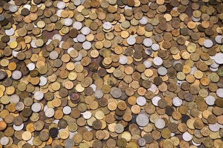 Photo pour Russian coins texture, considerable quantity of coins, Russian money rouble. - image libre de droit