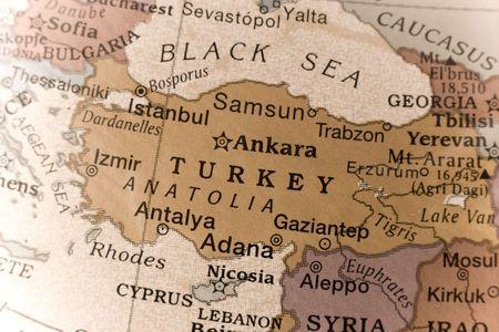 Macro of a detail on a globe of Turkey.