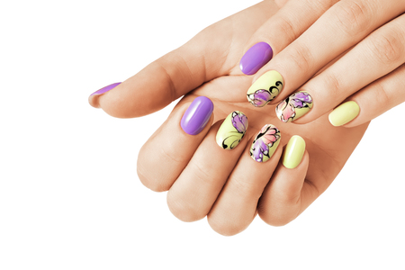 Summer manicure with a butterfly pattern. Isolated.の写真素材