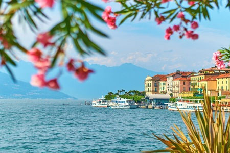 Photo pour Beautiful sunny summer view of Bellagio town at lake Como in Italy with blooming nerium oleander flowers, ships and boats - image libre de droit
