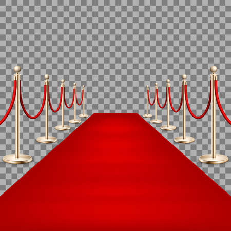 Illustration for Realistic Red carpet between rope barriers. EPS 10 - Royalty Free Image