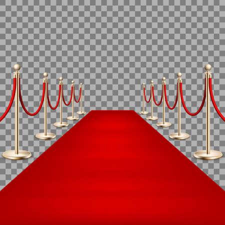 Illustration pour Realistic Red carpet between rope barriers. EPS 10 - image libre de droit