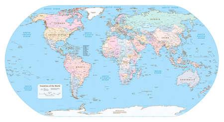 Illustration pour Highly detailed political World map. EPS 10 vector - image libre de droit