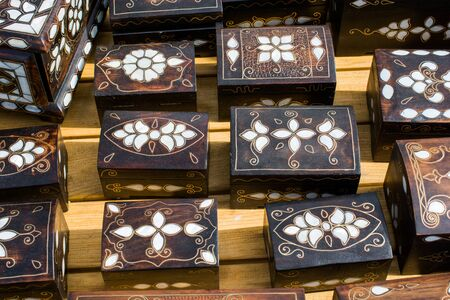 Ancient style wooden treasure chest with mother of pearl inlay