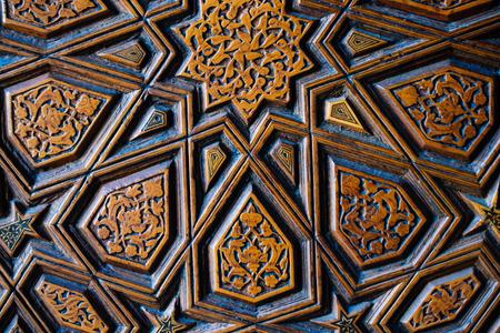 Ottoman Turkish  art with geometric patterns on woodの素材 [FY310120405652]
