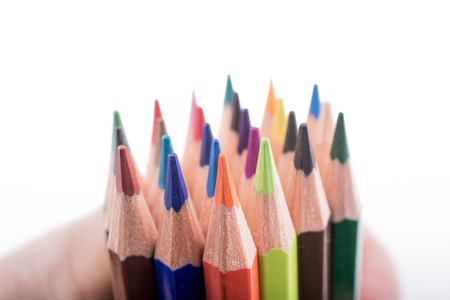 Foto de Color pencils of various color on a white background - Imagen libre de derechos