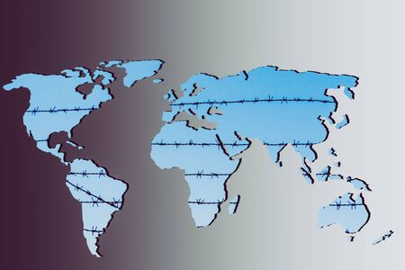 Photo pour Roughly outlined world map with a gray background - image libre de droit