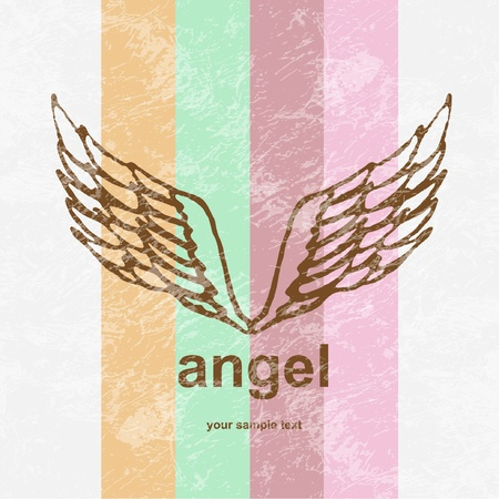 illustration of angel icon  retro background