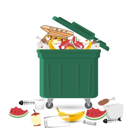 Illustration pour A full garbage can with waste - image libre de droit