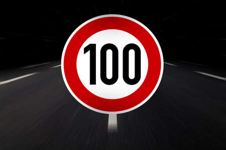 100 limit sign on highway