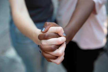 Foto für close up black and white woman hand. Selective focus  - Lizenzfreies Bild