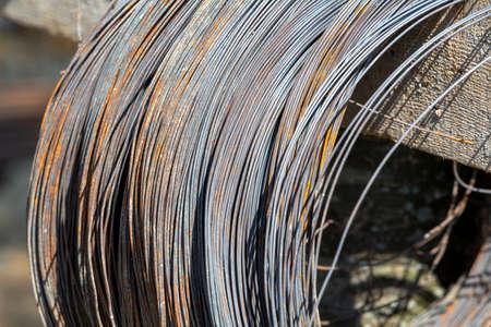 Photo pour Stock with rolls of sheet steel in industrial plant - image libre de droit